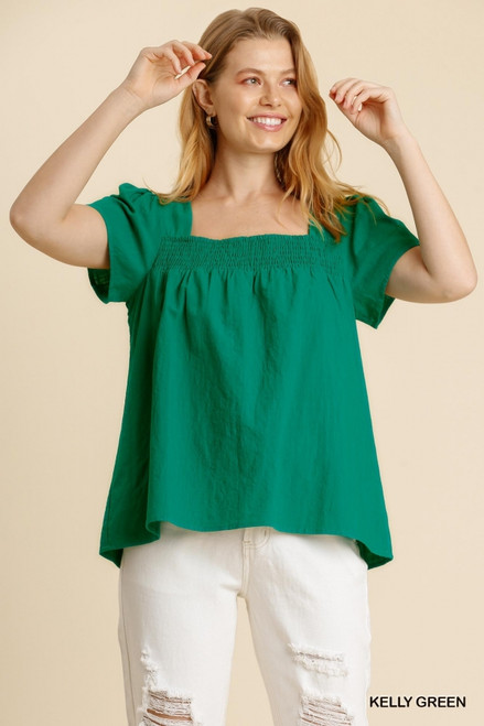 Square Neck Smocked Top, Kelly Green
