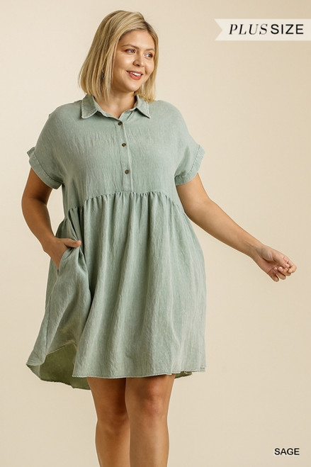 Curvy Linen Blend Collared Dress, Sage