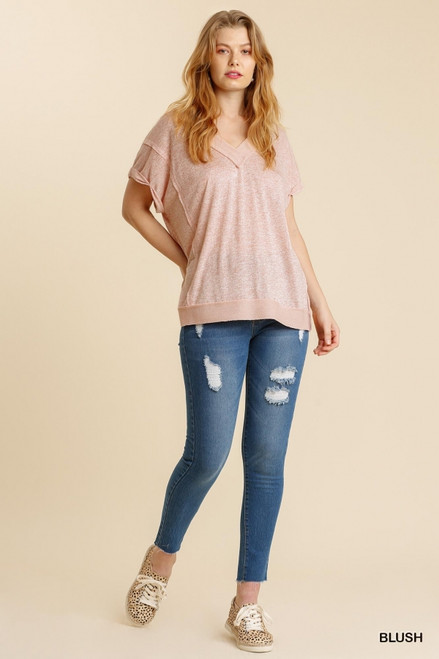 Light French Terry Detail Top, Blush