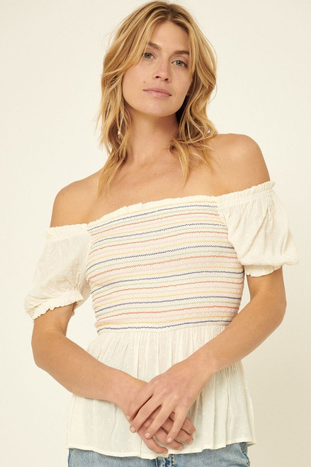 Smocked Puff Sleeve Top, Off White