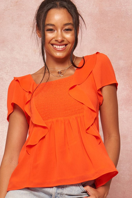 Smocked Ruffle Top, Red