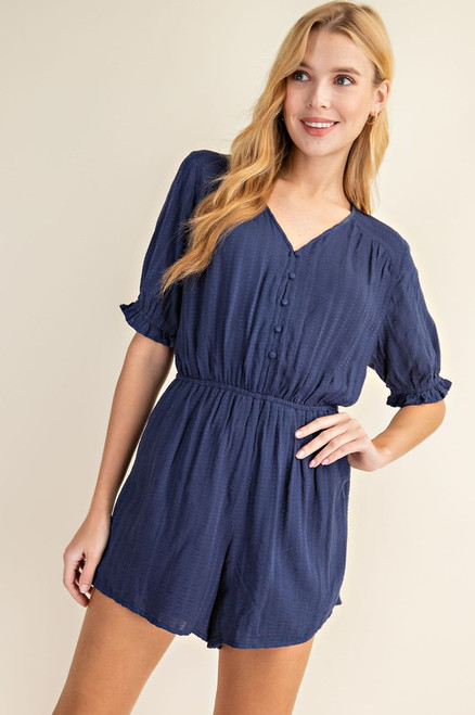 Half Sleeve Button Romper, Navy