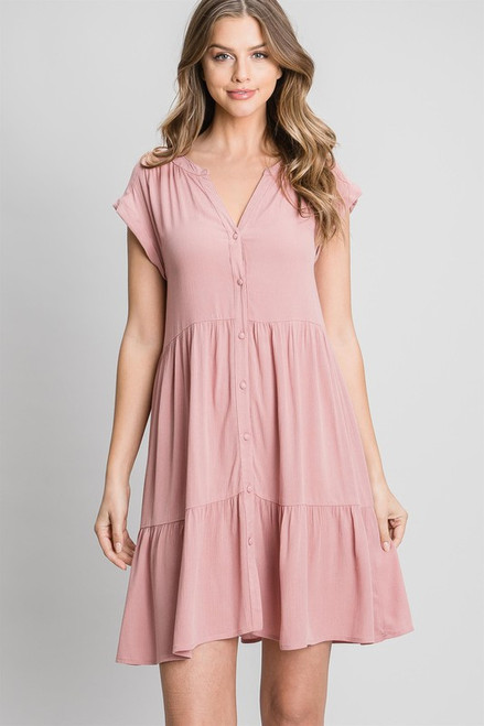 Tiered Button Babydoll Dress, Mauve