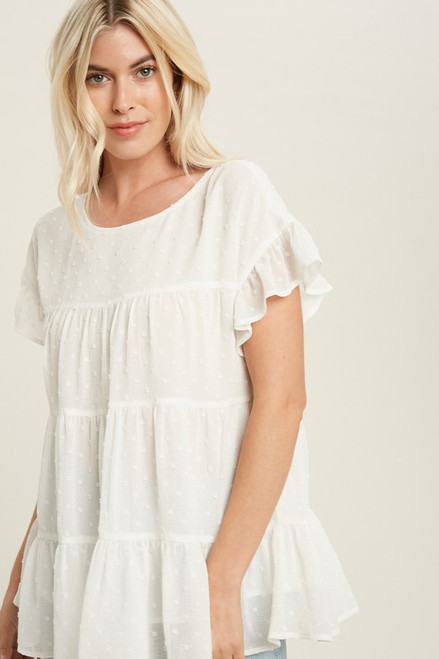 Tiered Swiss Dot Top, Ivory