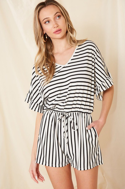 Striped Romper, White/Black