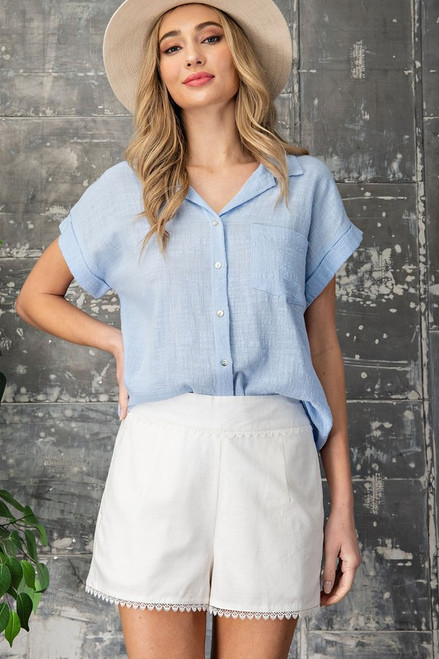 Button Down Front Pocket Top, Chambray