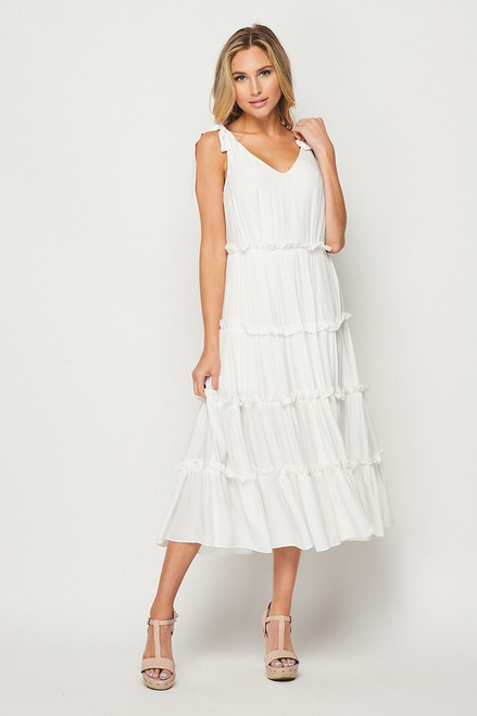 Tiered Solid Midi Dress, Ivory
