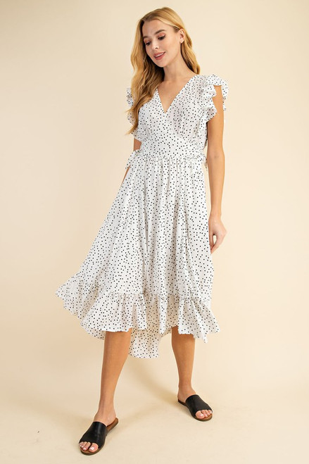 Polka Dot Midi Dress, Off White