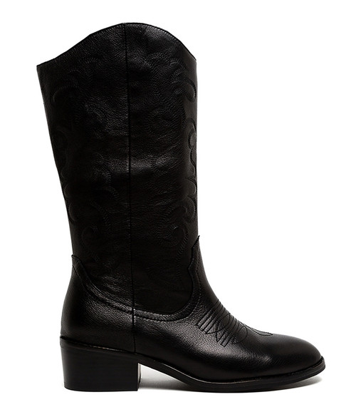 ZOELLE BLACK BLACK EMBROIDERY LEATHER