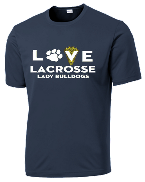 OF Ladies Love Lacrosse Performance Tee - Navy