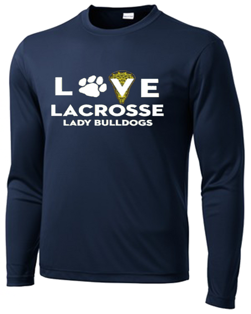 OF Ladies Love Lacrosse Performance Tee - Navy