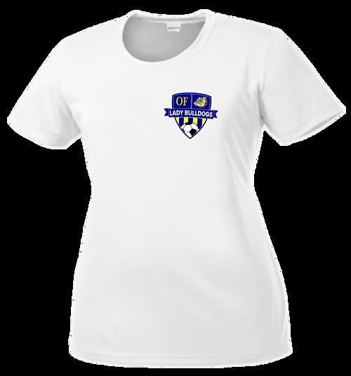 OF Lady Bulldogs Soccer DriFit Ladies Cut Tee - White