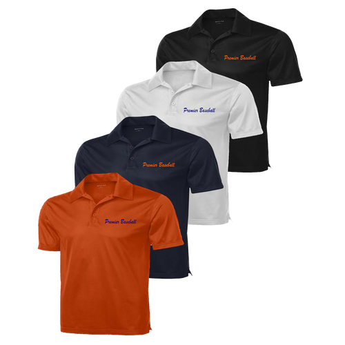 Premier Baseball embroidered left chest - Deep Orange, Navy, White and Black