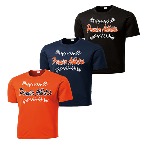 Full Front Baseball Stitch Logo - Deep Orange, Navy, and Black
