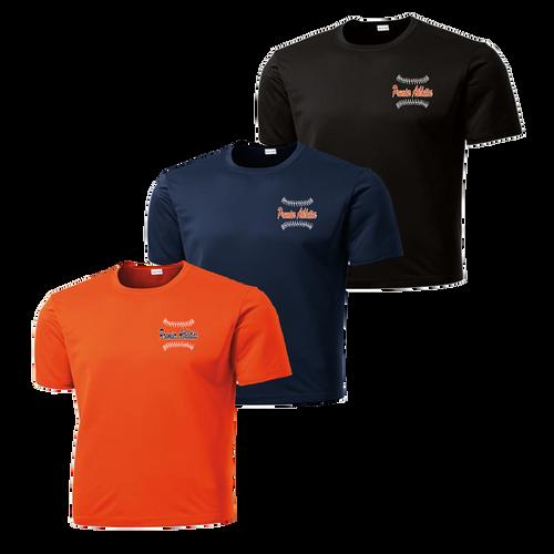 Left Chest Baseball Stitch Logo - Deep Orange, Navy, and Black