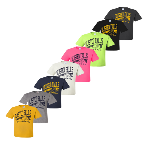 Bulldog Distressed Tee - Gold,Oxford,Navy,White,Pink,Safety Green,Black,Charcoal