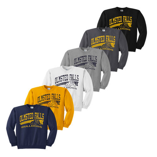 Bulldog Distressed Crewneck - Navy, Gold, White, Athletic Heather, Charcoal and Black