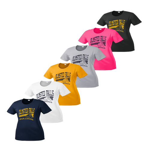 Ladies Bulldog Distressed Tee - Navy, White, Gold, Silver, Pink, Iron Grey
