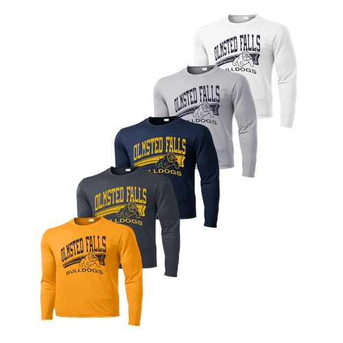 Long Sleeve Dry Fit with Distressed Logo - Gold, Iron Grey, Navy, Silver and White