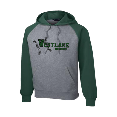 Westlake Baseball Raglan Hooded Sweatshirt (F102)