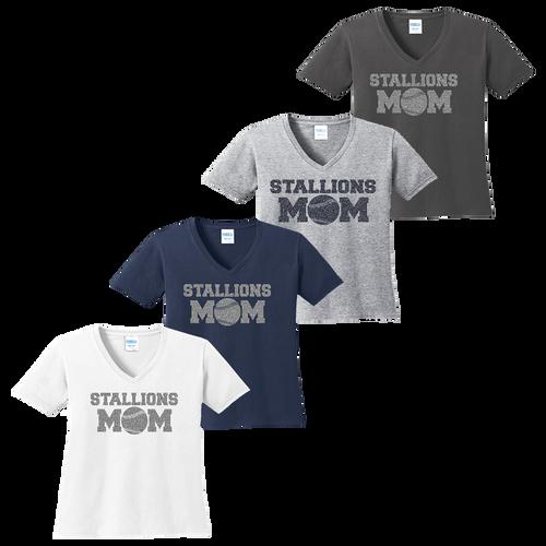 Stallions Mom Ladies V-Neck Tee