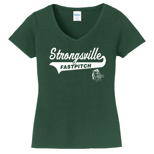 Strongsville Mustanges Ladies V-Neck Tee