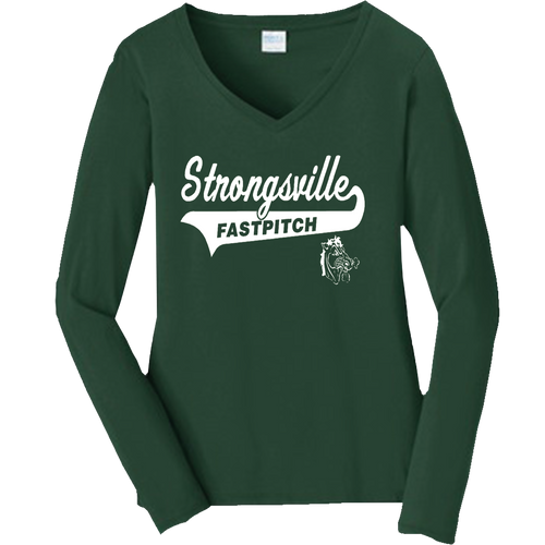 Strongsville Mustangs Ladies V-Neck LS Tee