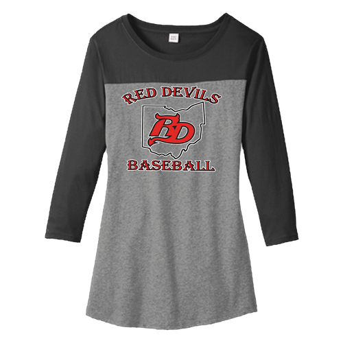 Red Devils Baseball Ladies 3/4 Rally Tee