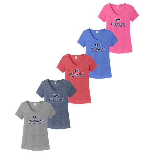 Put-In-Bay Yacht Club Ladies V-Neck Tee (F392)