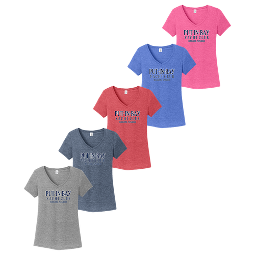 Put-In-Bay Yacht Club Ladies V-Neck Tee (F393)