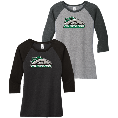 Strongsville Mustangs Ladies 3/4-Sleeve Raglan Tee (F395)