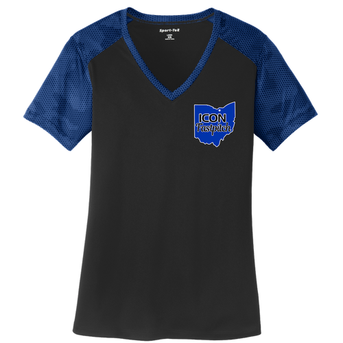 ICON Fastpitch Ladies Camohex V-Neck Performance Tee (S227)