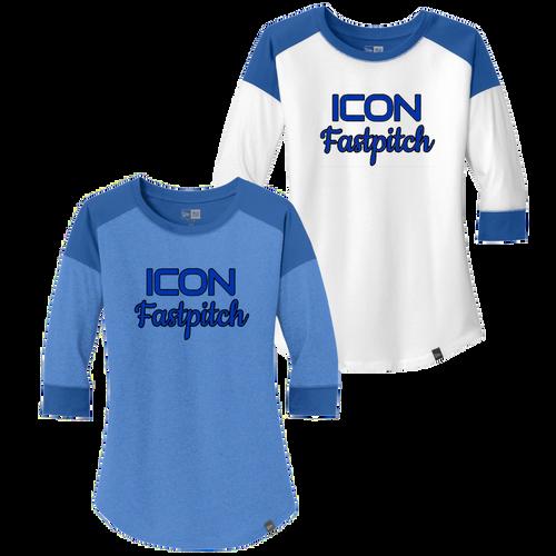 ICON Fastpitch Ladies 3/4-Sleeve Baseball Raglan Tee (F414)