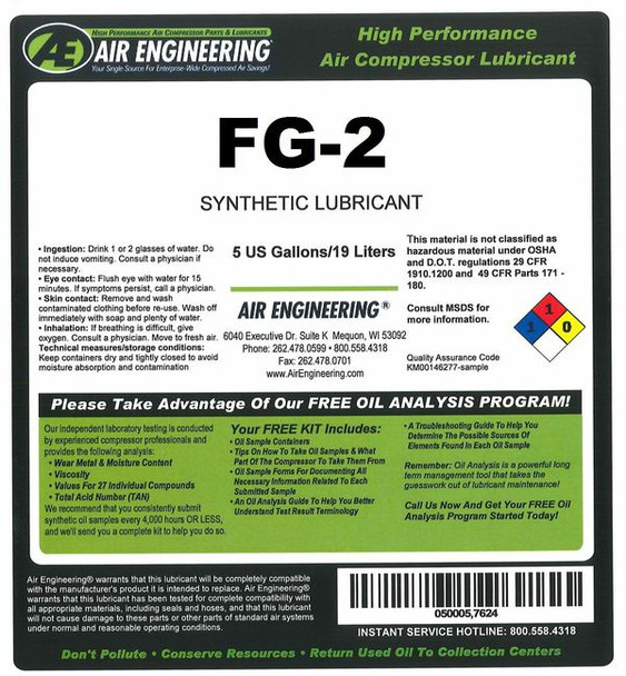 110756-005 - Compressor Lubricant - QUINSYN F - 5 GAL
