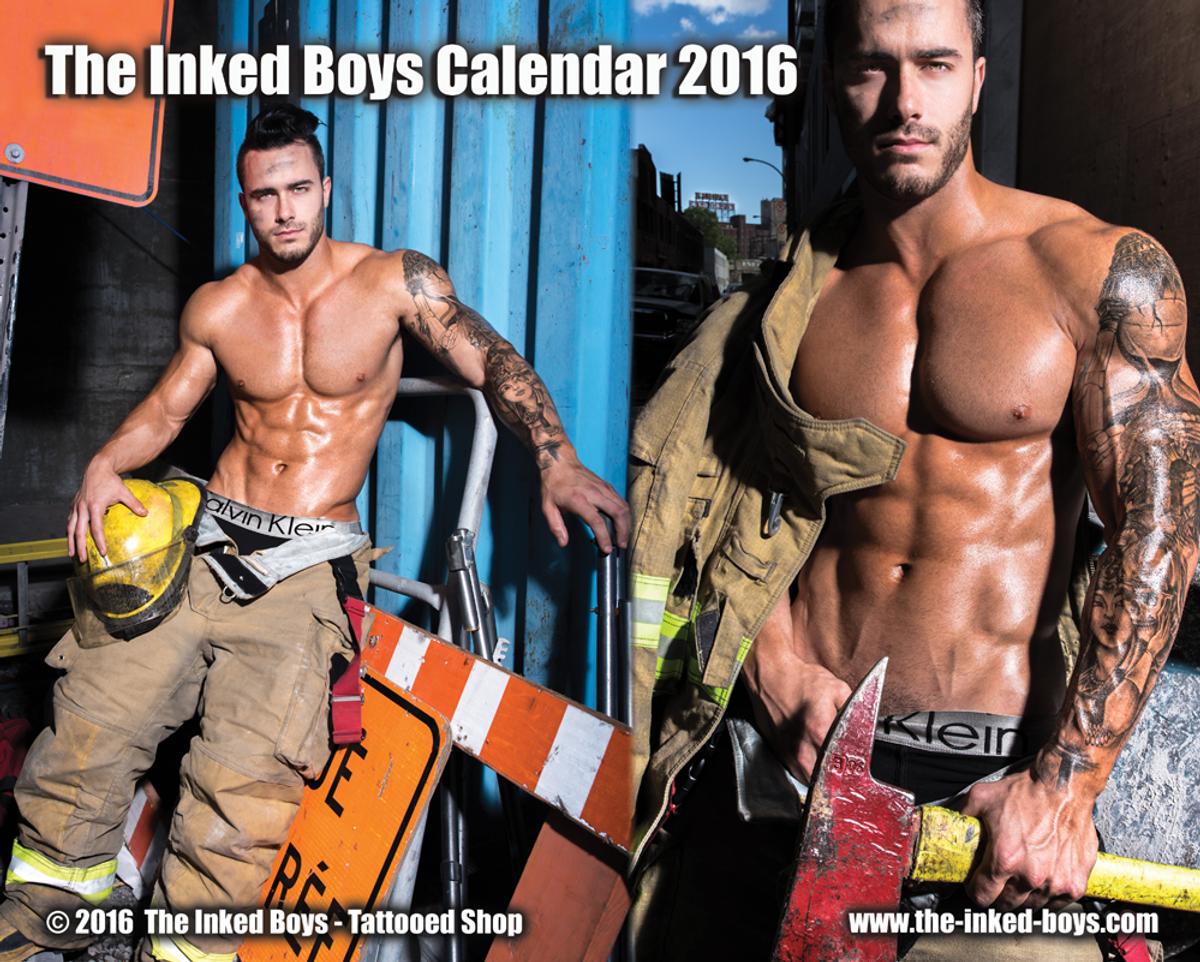 Fiona Vroom Naked the inked boys calendar 2016