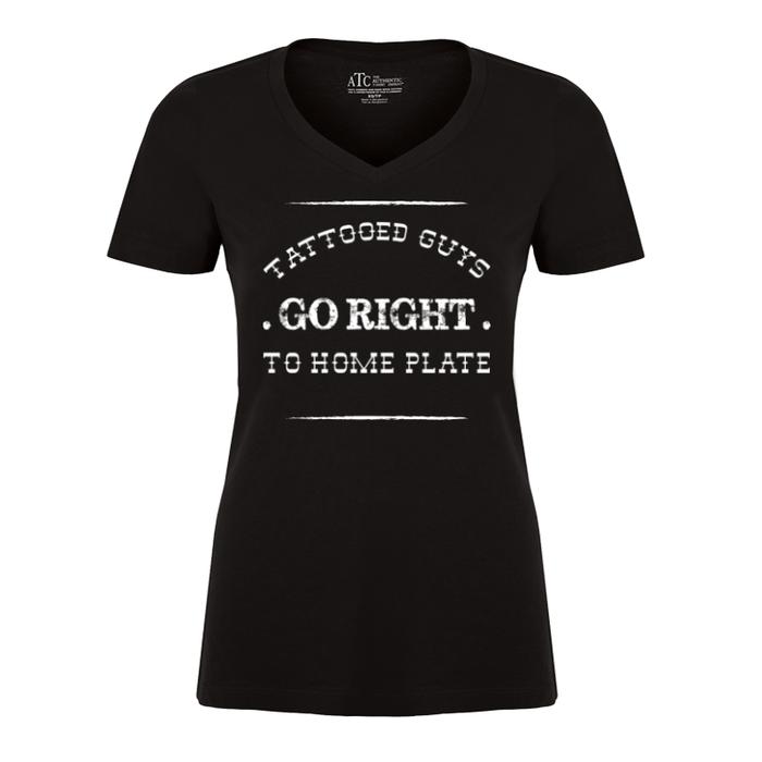 Women'S Tattooed Guys Go Right To Home Plate - Tshirt