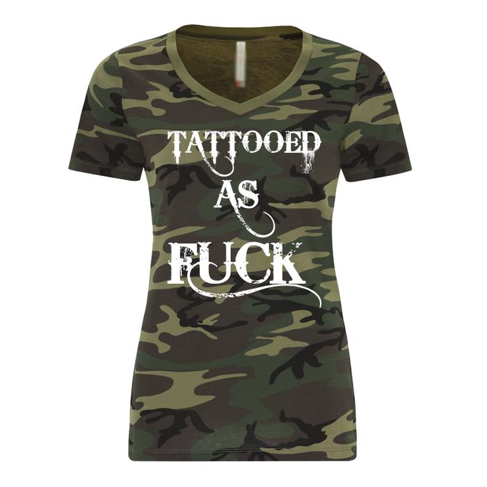 Women'S Tattooed As Fuck Green Camo - Tshirt