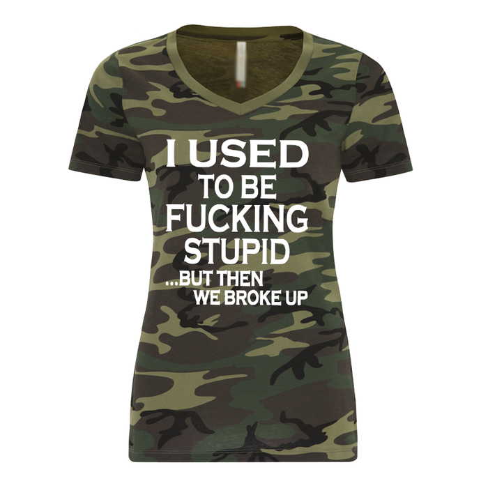 Women'S I Used To Be Fucking Stupid But Then We Broke Up Green Camo - Tshirt
