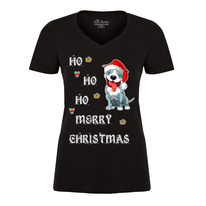 Women'S Ho Ho Ho Merry Christmas (Dog) - Tshirt