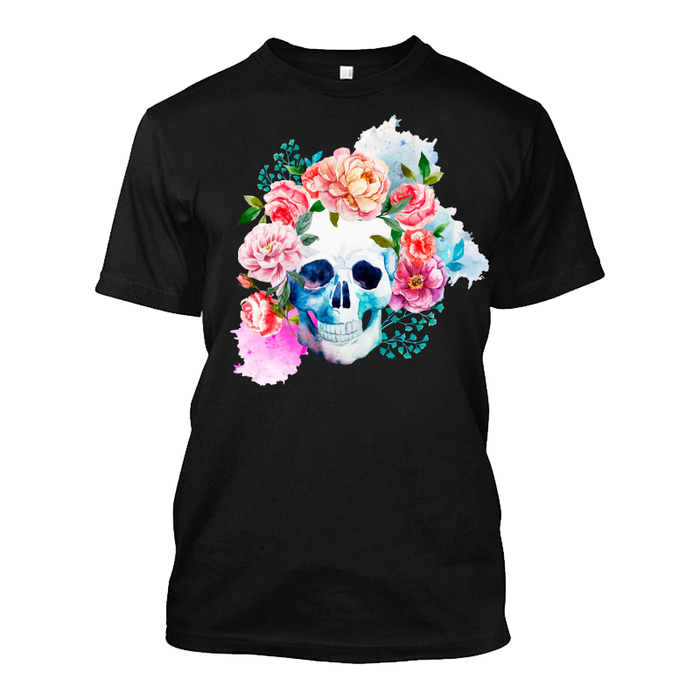 Men'S Watercolor Skull With Flowers - Tshirt