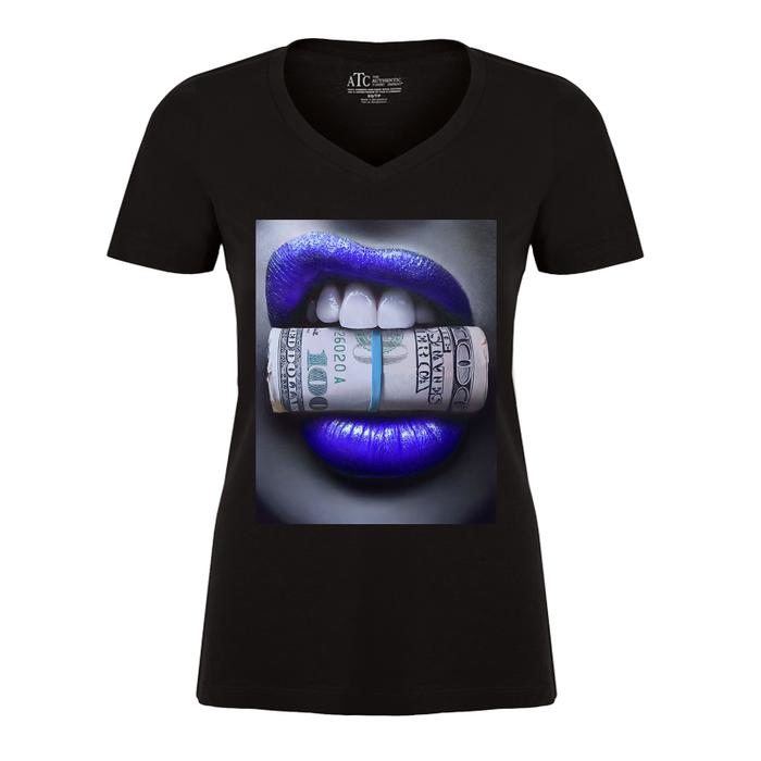 Women'S Blue Lips Biting Money - Tshirt