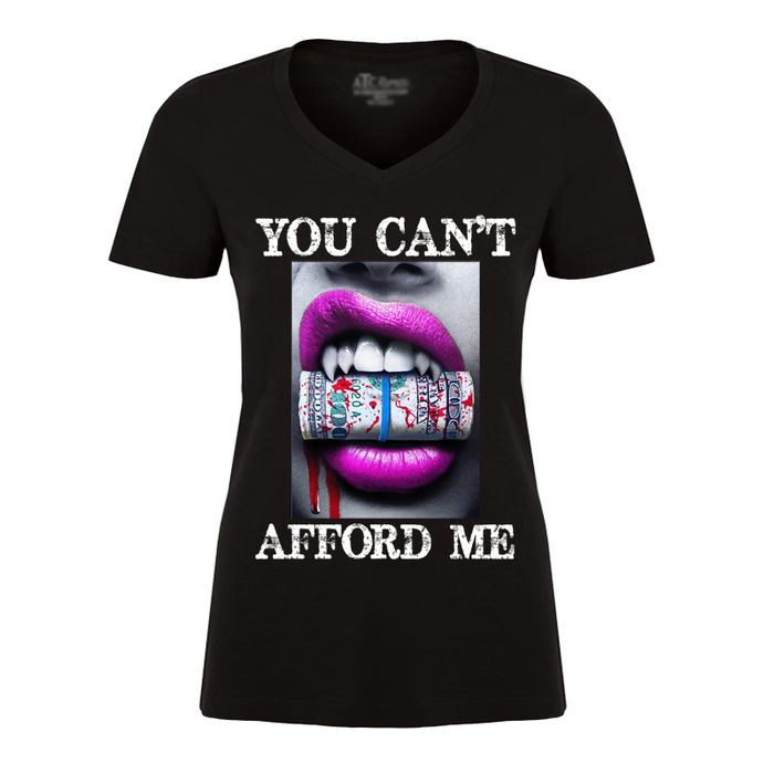 Women'S You Can't Afford Me Pink Lips Vampire Biting Money - Tshirt