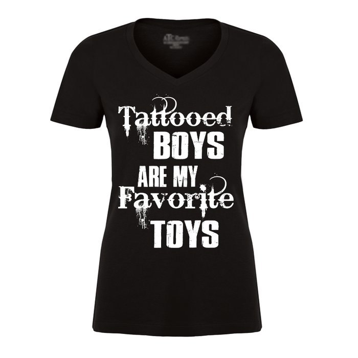 Women'S Tattooed Boys Are My Favorite Toys - Tshirt