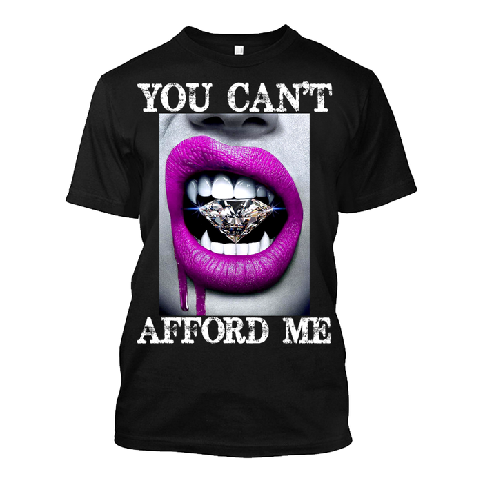 Men'S You Can't Afford Me Pink Lips Vampire Biting Diamond - Tshirt
