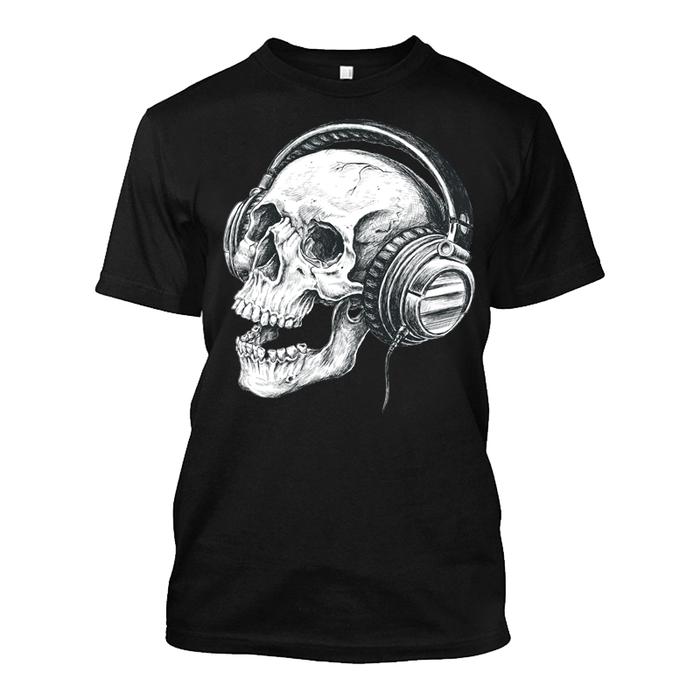 Men'S Skull & Music - Tshirt