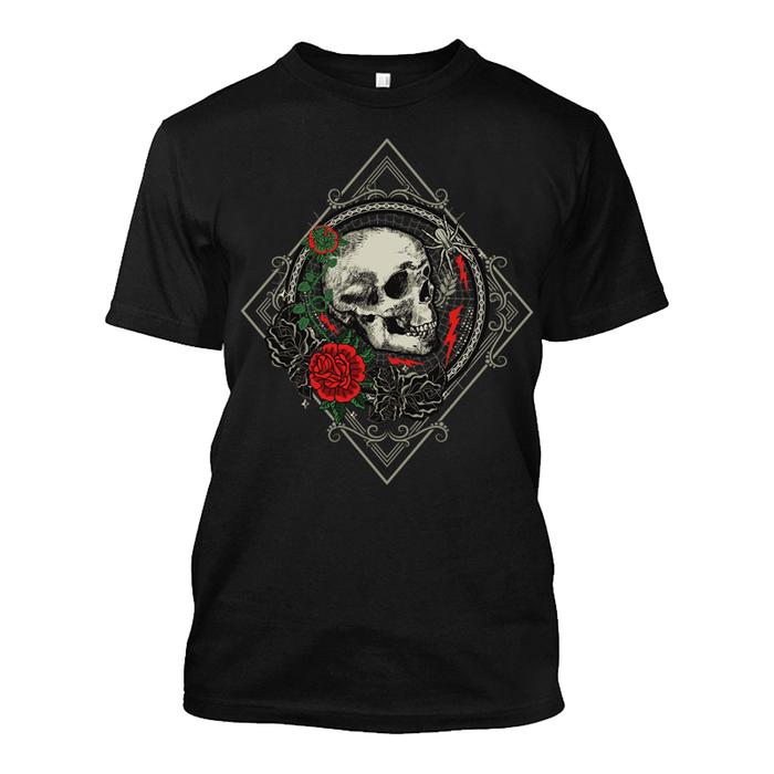 Men'S Skull & Rose - Tshirt