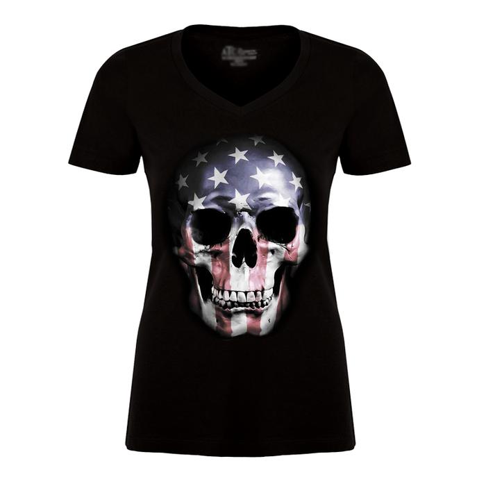 Women'S USA Skull Flag - Tshirt