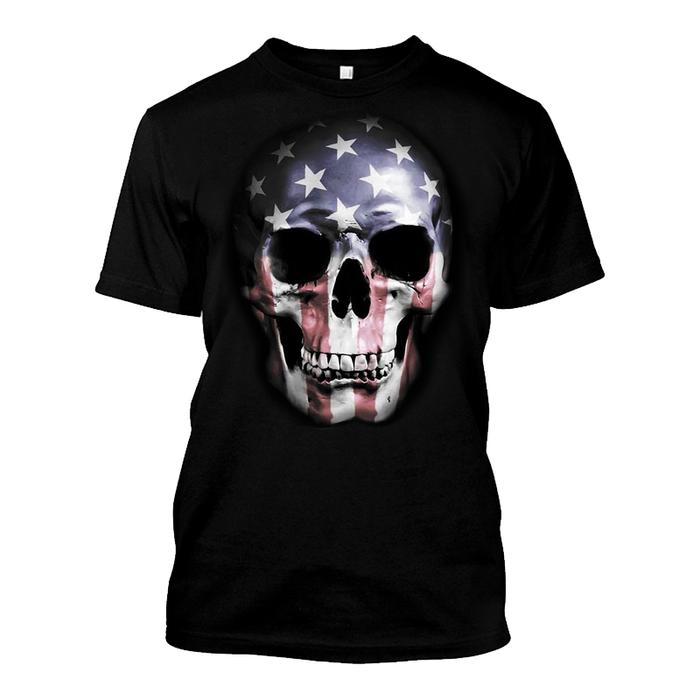 Men'S USA Skull Flag - Tshirt