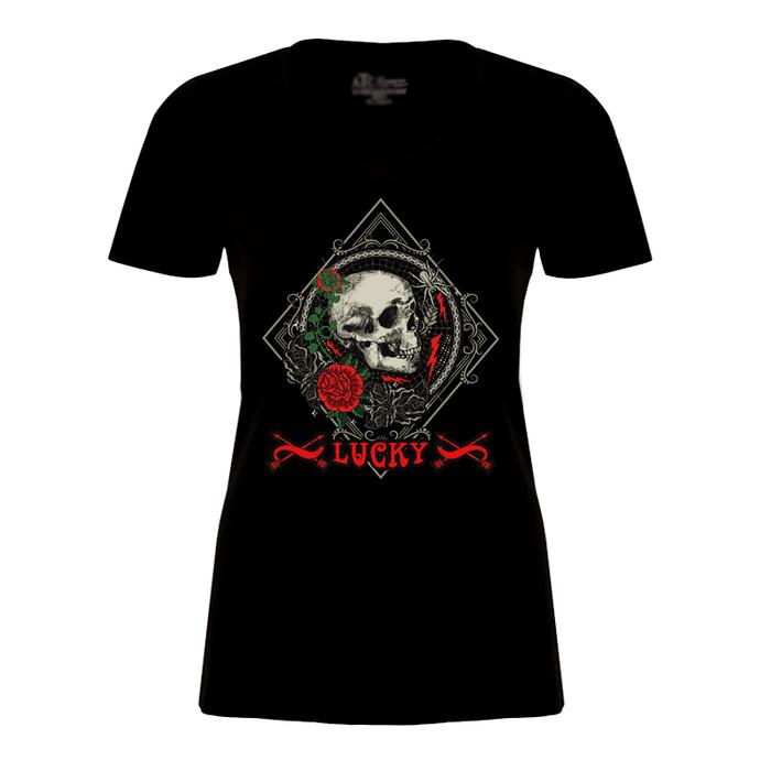 Women'S Skull & Rose - Lucky - Tshirt