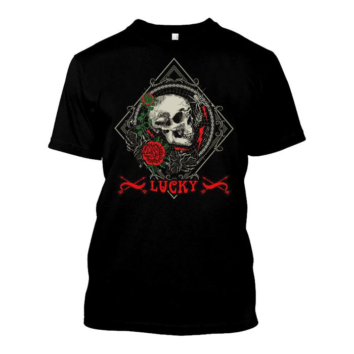 Men'S Skull & Rose - Lucky - Tshirt